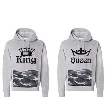 KING Queen hip hop women Men anime female Male love Couple grey brand Print Hoodie Sweatshirt down cloak Jacket Coat clothes