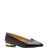 Black Leather Kitty Flats