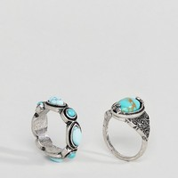ASOS Pack of 2 Faux Turquoise Stone Rings at asos.com