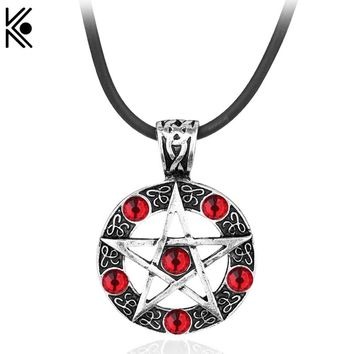 free shipping supernatural necklace Supernature Star Collier Femme Pentagram Pendant Necklace statement necklace Leather jewelry