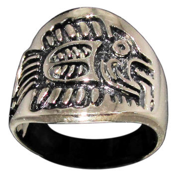Mayan Fish Symbol Tribal Ring in Bronze