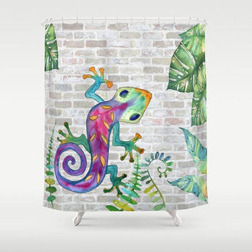 Tropical Gecko Shower Curtain - colorful lizard, bathroom, whimsical climbing exotic, wild foliage,  decor