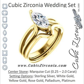 CZ Wedding Set, featuring The Piper engagement ring (Customizable Marquise Cut Solitaire with Flared Split-band)