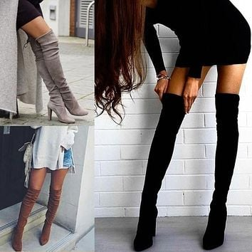 Women Fashion Stretch Zip Pointed-toe Rough Heels Shoes Knee-high Boots