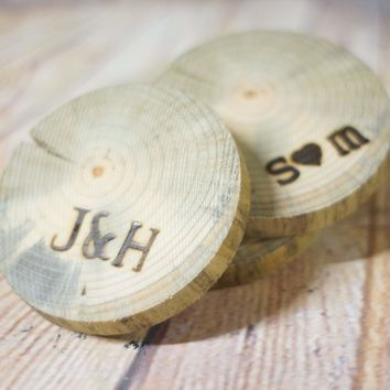 4 Personalized Natural Tree Wood Coasters