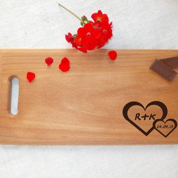 Love cutting board Personalized wedding cutting board Wedding gift for couple Custom Engraved by hand woodburning Hearts Names Initials Love