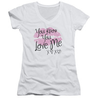 GOSSIP GIRL/YOU LOVE ME - JUNIOR V-NECK - WHITE -