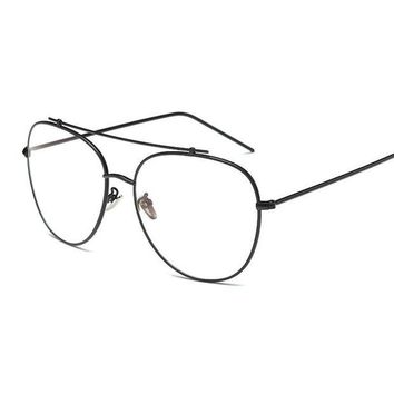 ONETOW Unisex Fashion Brand Designer Aviation Metal Glasses Frame Unique Top Clear Lens Frames Feamle Eyewear Optical Glasses