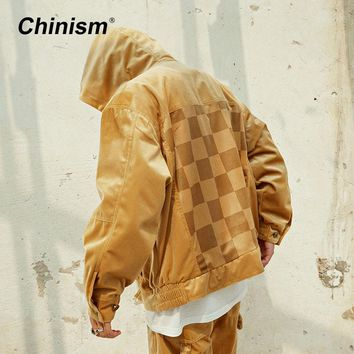 CHINISM Pleuche Golden Hooded Jacket Male Loose Back Plaid Patchwork Outwear Jackets Hip Hop Streetwear