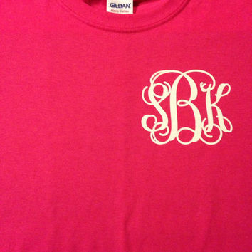 Monogrammed T-Shirt Womens Juniors Girls Vinyl Glitter