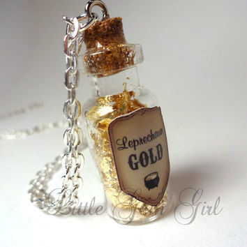 Leprechaun Gold - Glass Bottle Cork Necklace - Pot of Gold - Potion Vial Charm - St Patricks Day Magic Spells