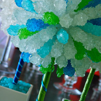 Green & Blue Rock Candy Centerpiece Topiary Tree, Candy Buffet Decor, Candy Arrangement Wedding, Mitzvah, Party Favor,