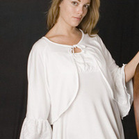 Sarah Bed Jacket With Ruffle Sleeve Supima Cotton With Lace Ruffle Sleeve | Simple Pleasures, Inc.