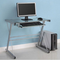 Contemporary Computer Desk Tempered Glass Home Office Furniture Silver Finish