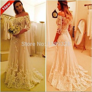 2015 Fashion Wedding Dresses Off shoulder Backless Three Quarter Sleeve Lace Appliques Sweep Train Tulle Bridal gowns
