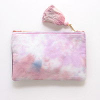 WINE / Natural leather & Dyed cotton two color side pouch - Ready to Ship