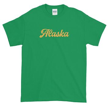 Alaska Script Distressed Yellow Short-Sleeve T-Shirt