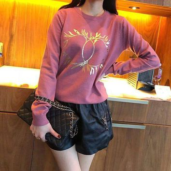 ONETOW Chanel' Women Casual Fashion All-match Olive Branch Letter Logo Print Long Sleeve Knit Tops