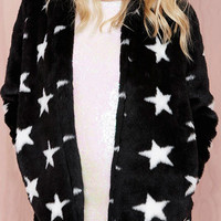 Black Star Printed Coat