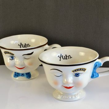 Baileys Winking YUM Cups Man Woman Blue Bow Tie Pearls Vintage  Stoneware Pedestal Coffee Irish Cream Mugs Whimsical 3D Anthropomorphic