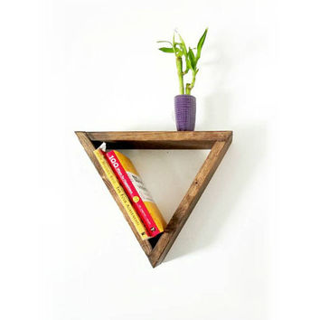 Triangle Floating Shelf - Bookshelf - Geometric shelves - Gift for Her