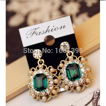 Hot Fashion Imitation pearl inlay Crystal  square earrings sparkling crystals Jewelry crystal jewelry