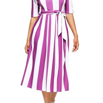 Fashion Purple Stripe Print Half Sleeve Belted Midi Dress