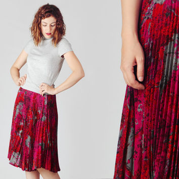 80s Red Pink Grey Accordion Midi Skirt / Abstract Print Pleated Wool Skirt / Vivid Autumn Winter Lady Skirt