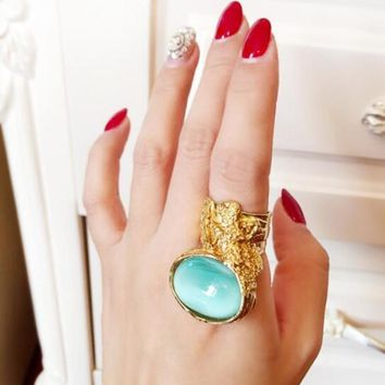 Gemstone Chunky Oval Cocktail Ring