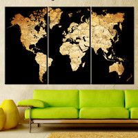 Canvas map of the world, Art print on canvas world map, World map canvas art print, World map canvas art wall, Large Canvas World map