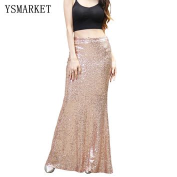 2017 Party or Club Gold Sequin Women Maxi Skirt Female Vestidos Elegant Boho Chic Sexy Mermaid Summer beach Long Skirts E0266