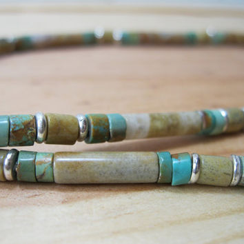 Jasper and Turquoise Heishi Necklace - Mens Necklace - Mens Gemstone Necklace - Rustic Necklace - Mens Beaded Necklace