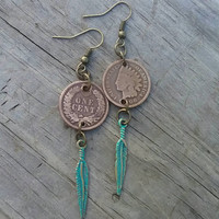 Coin earrings, Indian head penny earrings, American Indian jewelry, Cherokee jewelry, native feather earrings, stocking stuffer, gift