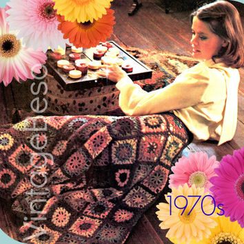 Granny Square Flared Skirt CROCHET Pattern 1970s Vintage Crochet Pattern Granny Square Pattern Sizes 8-14 - Pdf Pattern - INSTANT Download