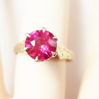 Ruby Engagement Ring 14K White Gold Size 6 Solitaire 1.5 Carat Synthetic Ruby