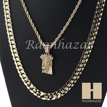 "MEN ICED OUT JESUS FACE ROPE CHAIN DIAMOND CUT 30"" CUBAN LINK CHAIN NECKLACE S10"