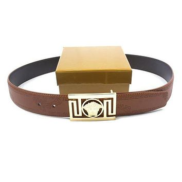 VERSACE Men Woman Fashion Smooth Buckle Belt Leather Belt-9