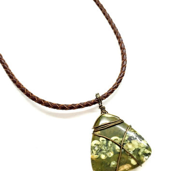 Cool Mens Leather Necklace with Gemstone Pendant Earthly Rhyolite Rainforest Jasper Pendant