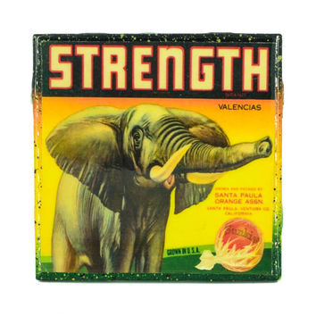Handmade Coaster Strength Elephant Brand - Vintage Citrus Crate Label - Handmade Recycled Tile Coaster