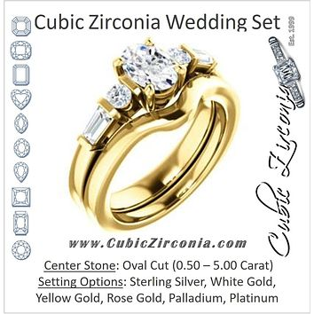 CZ Wedding Set, featuring The Sarah engagement ring (Customizable 5-stone Design with Oval Cut Center and Baguette/Round Bar-set Accents)