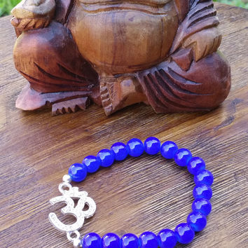 Original Collection- Blue beaded/Studded Om Charm Hand Made Bracelet