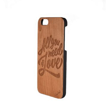 Wood Carved Phone Case - All You Need is Love- iPhone 5/5s/SE, 6, 7