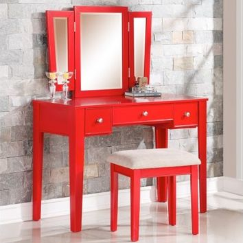 Poundex F4107 3 pc red finish wood make up bedroom vanity set with straight legs stool and tri fold mirror with three drawers