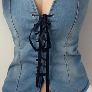 Strapless Lace-Up Denim Tank Top