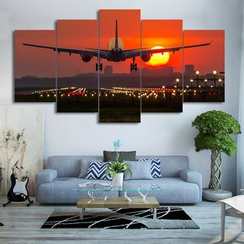 Canvas Wall Art: Plane Landing with Red Sunset on Canvas Wall Art 5-Panels