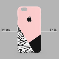 iPhone case - B&W Wild Pattern Layered on Pink - iPhone 6 case, iPhone 6s case, iPhone 6 Plus case, iPhone 5s case, iPhone 5 case non-glossy
