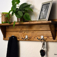 Rustic Wood Coat Rack Shelf Nickel Hooks Bathroom Bath Towel Robe Light Walnut