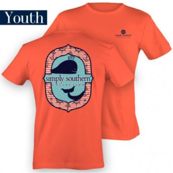 Simply Southern Tee Whale Youth - Coral