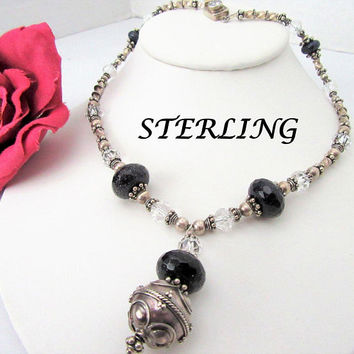 Sterling 925 Choker, Clear Crystal Beads, Large Black Faceted Crystals, Beaded Choker