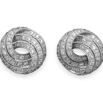 Rhodium Plated Cubic Zirconia Knot Earrings